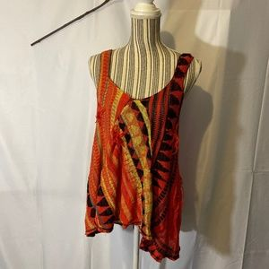 Free People Colorful Boho Knit Tank Top  SZ L